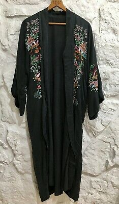 Vintage Japanese Silk Kimono Robe Charcoal Gray Hand Embroidered Raw Silk