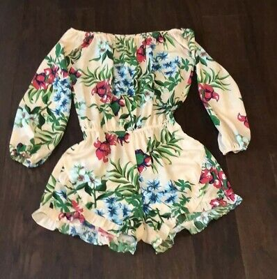 fraiche by j long sleeved, shorts Romper Cream and Floral Romper Sz Small.