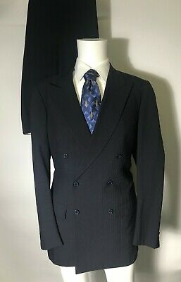 Brioni 42R  Navy Wool Double Breasted Single Vent Suit Made in Italy