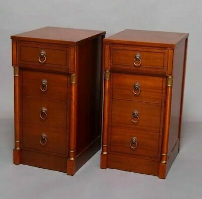 Pair Of Vintage Antique French Empire 4 Drawer Mahogany End Stands