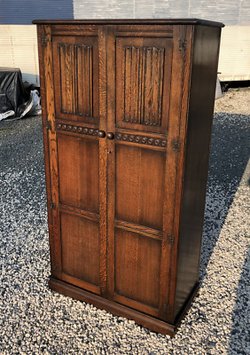 Antique Solid Oak Linen Fold Double Door Wardrobe