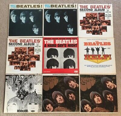 Lot  9 BEATLES Capitol Jackets Covers ONLY Rubber Soul Meet The Second Album VG+