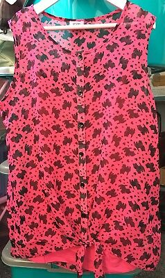 BNWOT Cute F&F Girl's Pink Scottie Dog Print Sleeveless Summer Top Set Age 11-12