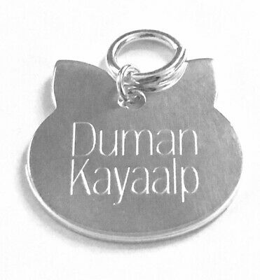 Personalised Handmade Engraved Sterling Silver Cat ID Tag with Ring for Collar