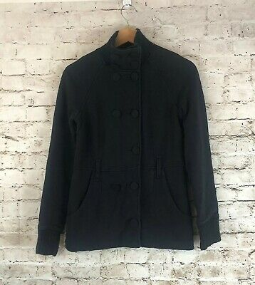 Armani Exchange Womens Small Jacket Black Cotton Polyester Button Front Pockets