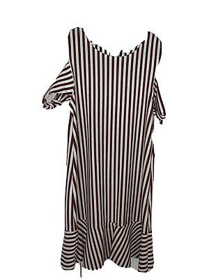 Zara Girls Casual Collection Red White Black Striped Cold Shoulder Dress 13/14