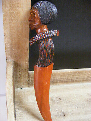 Carved wood Primitive Protective Talisman Figure Tribal ART Dagger Figurine