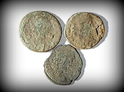 3 ANCIENT ROMAN COINS AE2 LARGE - Uncleaned and As Found! - Unique Lot L03304