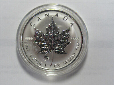 2008 CANADA 1 oz .9999 SILVER Reverse Proof $5 MAPLE LEAF with RAT PRIVY MARK