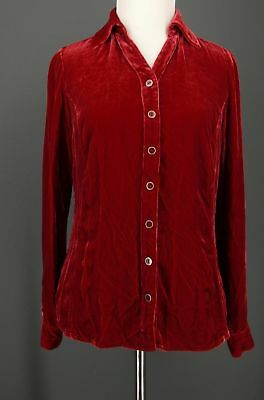 COLDWATER CREEK Top XS Red Silk Blend Crushed Velvet Velour