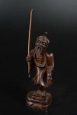 A788: Chinese Wood carving DOLL Statue sculpture Ornament Figurines Okimono