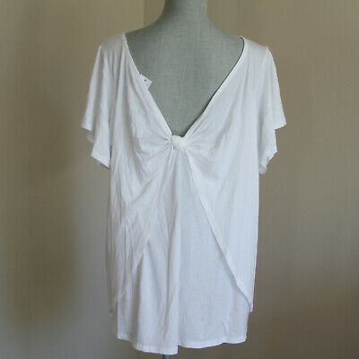 NWT Ann Taylor LOFT Plus - Split Sleeve Knot Back Tee -  16/18W  - White