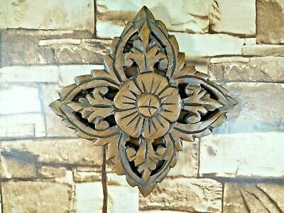 """Thai Vintage Carved Wood Wall Decor Square Panel Flower Wall Art Brown 6"""""""