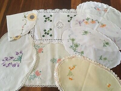 Bulk Lot of 6 Vintage Linen Embroidered Centrepiece Doilies For Craft Use exc
