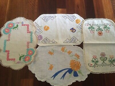 Bulk Lot 4 Vintage Linen Hand Embroidered Centrepiece Doilies For Craft Or Use