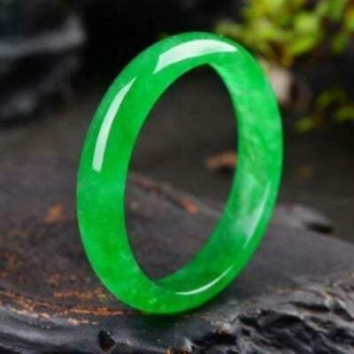 10% OFF- 58/59/60mm Certified Natural Icy Jadeite Emerald A*Jade HandCarved Bang