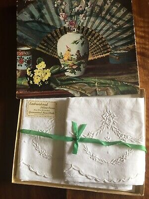 Pair of vintage embroidered white Irish Linen pillow cases boxed washed unused