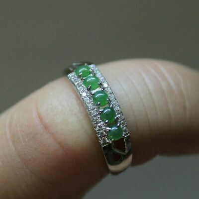 Size 9 3/4 Certified Natural Type A Untreated Light Green Jadeite JADE Ring #115