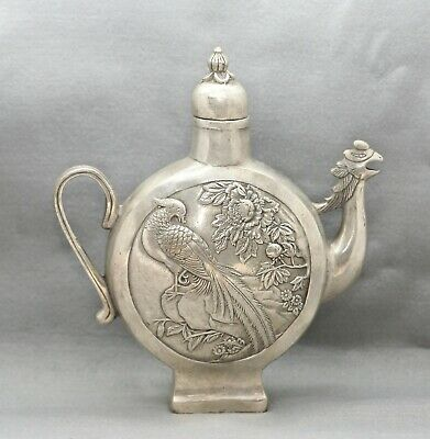 Stunning Vintage Chinese White Metal Bird Form Wine Pot Intricately Crafted