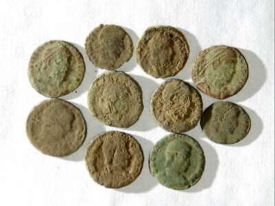 10 ANCIENT ROMAN COINS AE3 - Uncleaned and As Found! - Unique Lot 08903 W/BONUS