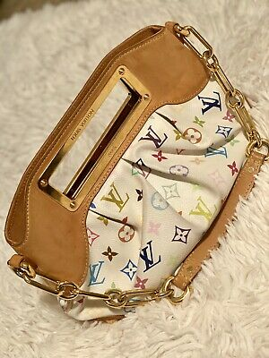 **LOUIS VUITTON Judy Multicolor Monogram Canvas White Purse Bag Murakami RARE!**
