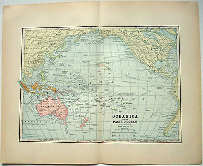 Original 1891 Map of Oceania by Hunt & Eaton. Antique