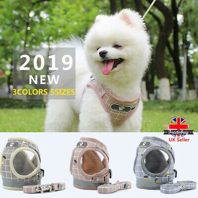 Puppy Small Dog Cat Harness Walking Leads Set Pet Breathable Reflective Vest EL