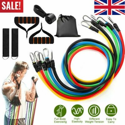 New Resistance Bands Workout Exercise Yoga 11 Piece Set Crossfit Fitness Tubes E
