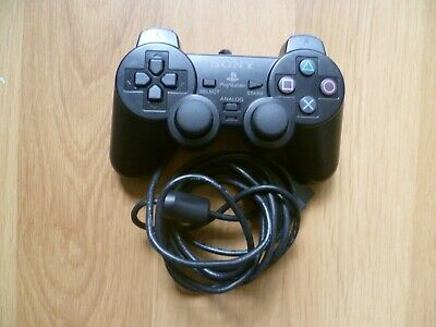 Original Sony Playstation 1 Or 2 Ps1 Ps2 Black Wired Dual Shock Controller -W