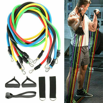 11Pc Set Resistance Bands Workout Exercise Yoga Crossfit Fitness Training Tubes