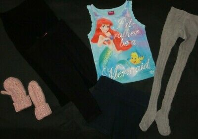 Girls Age 2-3 Years Little Mermaid Top Shorts Leggings Tights And Gloves Bundle