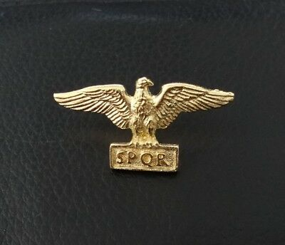 Roman Eagle SPQR Stud-back Brooch in 22kt Gold on Fine Pewter