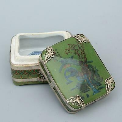 Collect Old Miao Silver Armour Porcelain Paint Shy Beauty & Scenery Delicate Box