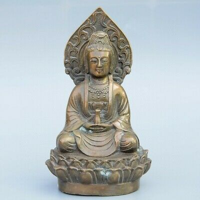 Collect China Old Bronze Hand-Carved Buddhism Kwan-Yin Exorcism Delicate Statue