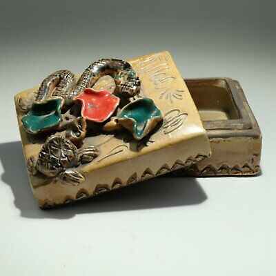 Collect China Old Porcelain Glaze Hand-Carved Snake & Tortoise Noble Jewel Box