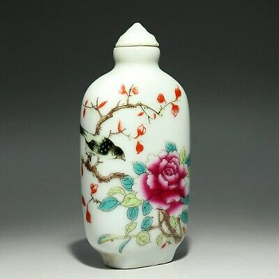 Collect China Old Porcelain Hand-Paint Bird & Bloomy Flower Noble Snuff Bottle