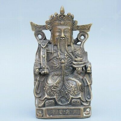Collect China Old Bronze Hand-Carved Immortal & Wealth Moral Bring Luck Statue