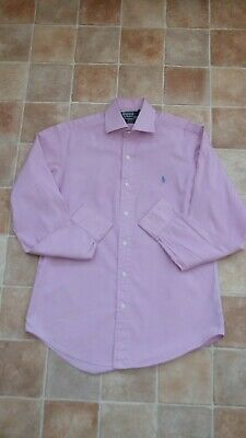 Mens Polo by Ralph Lauren Regent Custom Fit Pink White Striped Shirt - 15 inches