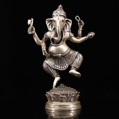 Collect Old Miao Silver Inlay Agate Hand Carve Elephant Buddha Bring Luck Statue