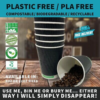 8oz Black Ripple Paper Coffee Cup |  Plastic Free & Compostable Bio Cup