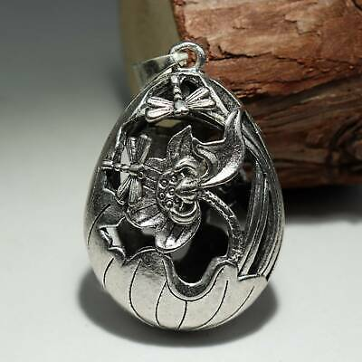 Collectable China Old Miao Silver Hand-Carved Bloomy Lotus Bring Luck Pendant
