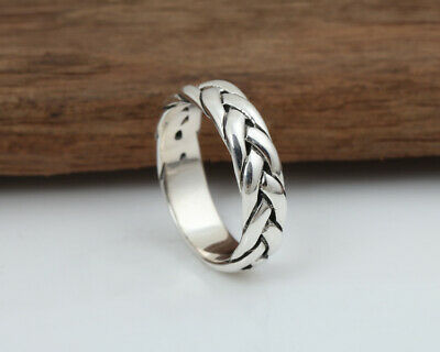 Collect Chinese 925 Sterling Silver Hand-Carved Retro Twist Shape Boy Girl Ring