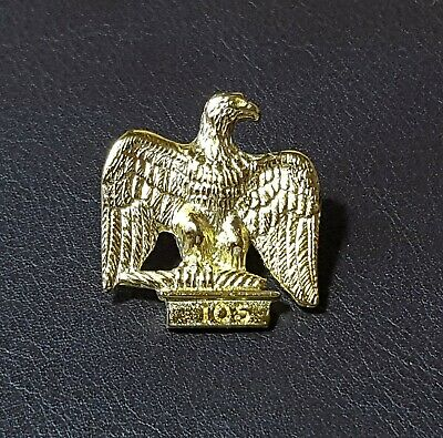 French Imperial Eagle Stud-back Brooch in 22kt Gold on Fine Pewter