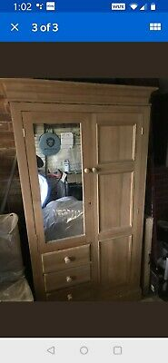 Large Solid Pine Beautiful Double Wardrobe With Drawers