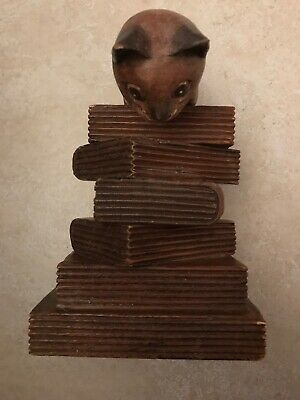 Vintage Wooden Carved Cat Crouching On Stack Of 6 Books