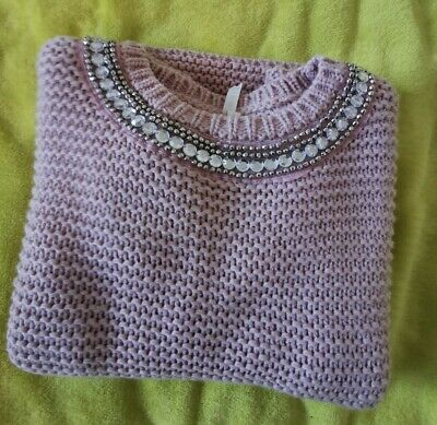 Primark YD girls pale pink jumper with sparkly beads Size 9-10 years - 140cm