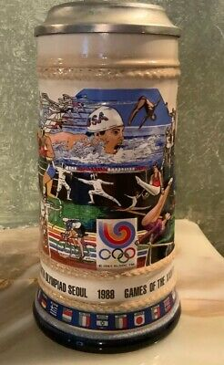 1988 OLYMPIC GAMES SEOUL Anheuser Busch Stein LIMITED EDITION Numbered by Gerz