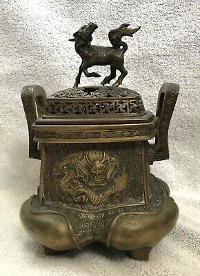 Antique Japanese Bronze Censer Burner with Mark