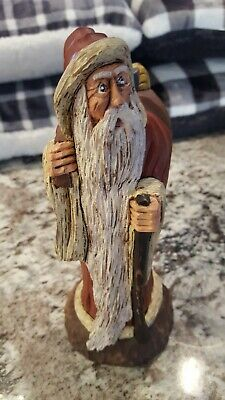"""Vintage Hand Carved Wood Santa Pauline Connor  1990  9"""" Tall Toy Boat"""