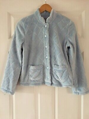 MARKS & SPENCER Baby Blue Soft Snuggly Button Up Lounge Top Sz 6-8 BNWOT